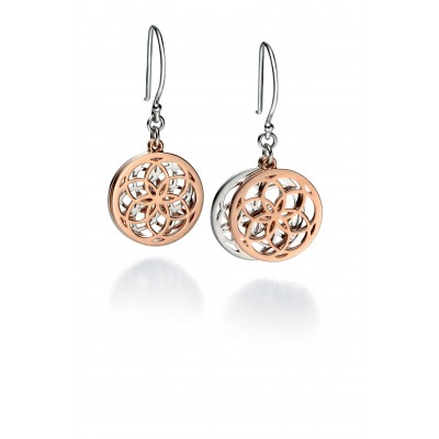 Silver and Rose Gold Plated Geometric Drop Earrings