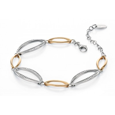 Silver and Yellow Gold plated Openwork CZ Bracelet