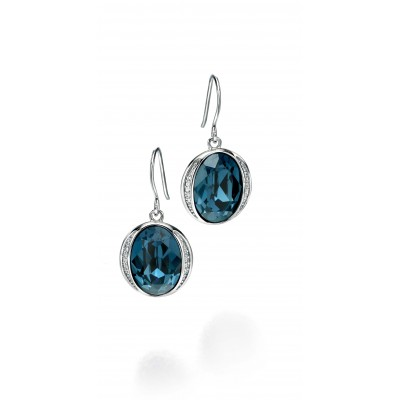 Swarovski Elements Crystal Blue Drop Earrings with CZ