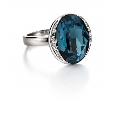Swarovski Elements Crystal Blue Ring with CZ