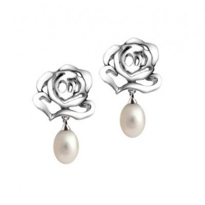 Rose silver stud earrings with white F/W pearl drop