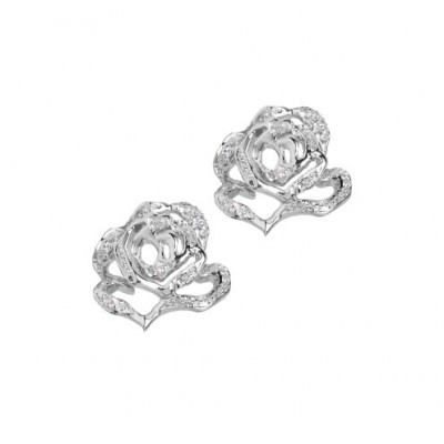 Rose Silver stud earrings with CZ