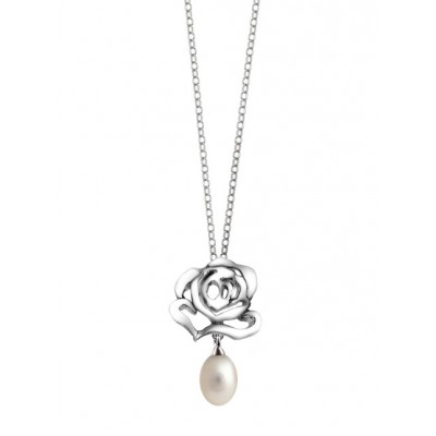 Rose Stud Pendant with Pearl Drop