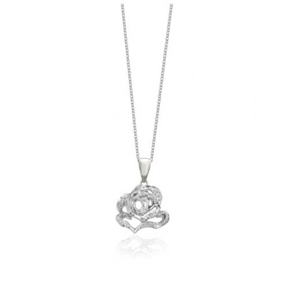 Rose Silver Stud Pendant with CZ