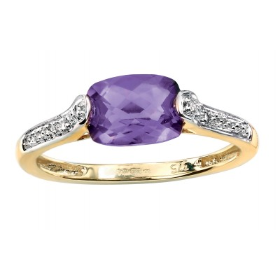 OVAL FACETED AMETHYST AND DIAMOND RING