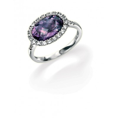 AMETHYST, WHITE SAPPHIRE AND DIAMOND RING