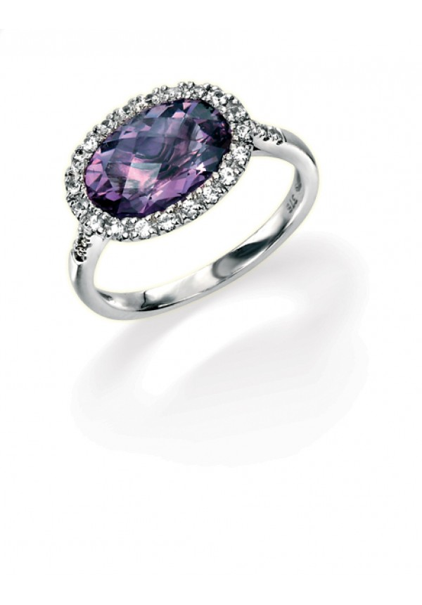 Other Gemstone Rings Amethyst And Diamond Ring