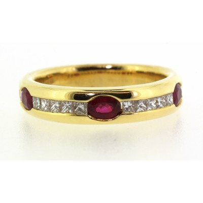 RUB OVER AND CHANNEL SET FANCY RUBY AND DIAMOND RING