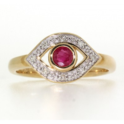 FANCY RUBY AND DIAMOND RING