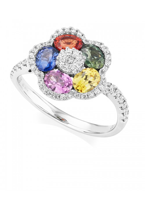 Fancy Coloured Sapphire and Diamond Ring