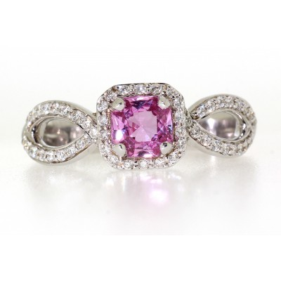 PINK SAPPHIRE AND DIAMOND FANCY HALO RING