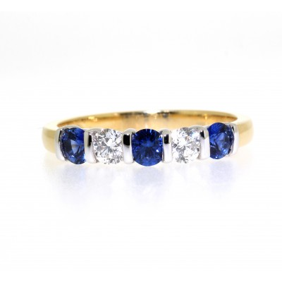 ROUND BRILLIANT CUT BAR SET SAPPHIRE AND DIAMOND HALF ETERNITY RING