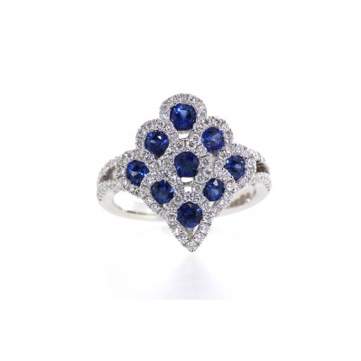 Sapphire and Diamond 'Peacock' Ring