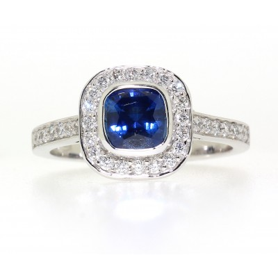 VINTAGE STYLE CUSHION CUT SAPPHIRE AND DIAMOND CLUSTER