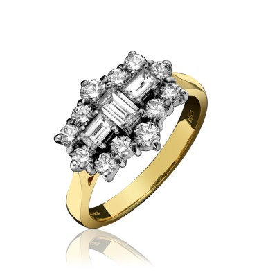 BAGUETTE AND ROUND BRILLIANT CUT DIAMOND CLUSTER RING