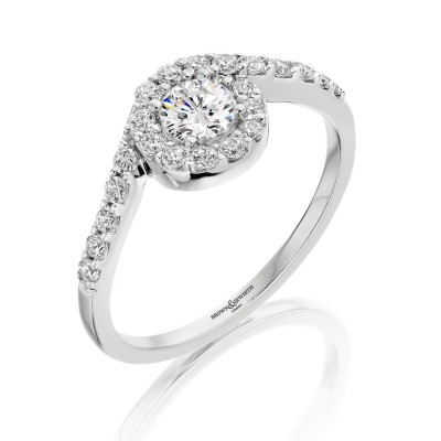 OFFSET ROUND BRILLIANT CUT DIAMOND HALO DRESS RING