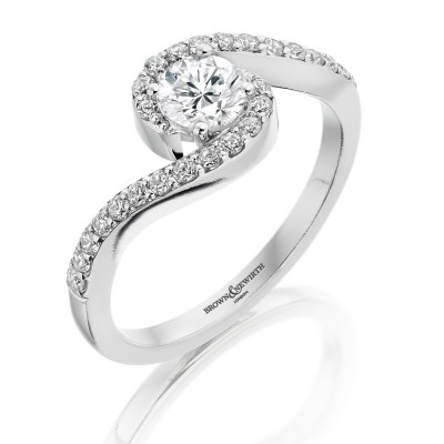 TWIST ROUND BRILLIANT CUT DIAMOND DRESS RING