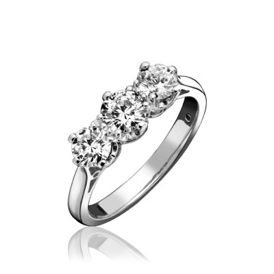 CLAW SET ROUND BRILLIANT CUT THREE STONE DIAMOND RING