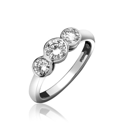 RUB OVER SET ROUND BRILLIANT CUT THREE STONE DIAMOND RING