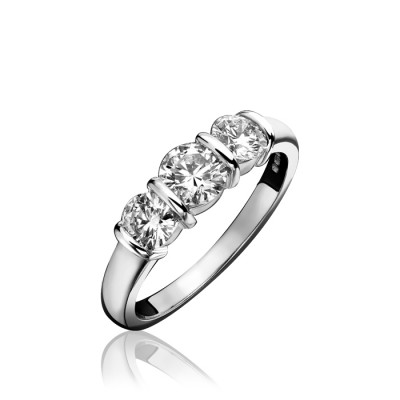 BAR SET ROUND BRILLIANT CUT THREE STONE DIAMOND RING