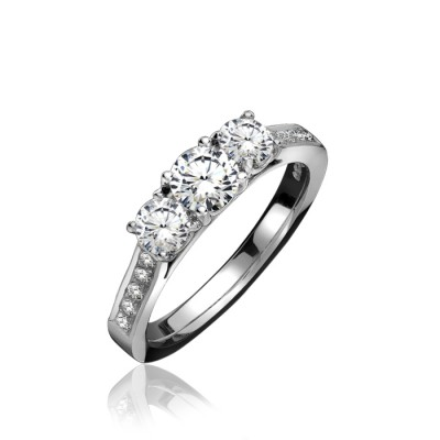 Three Stone Diamond Ring with Diamond Set Shoulders