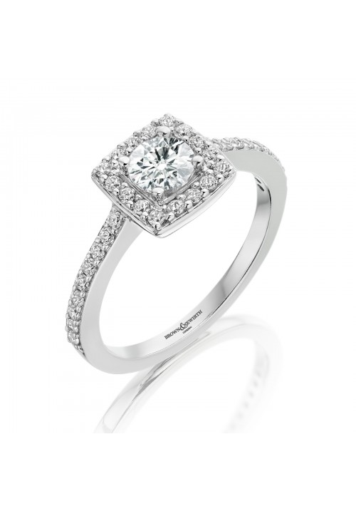 VINTAGE STYLE CUSHION SHAPE HALO CLUSTER DIAMOND RING