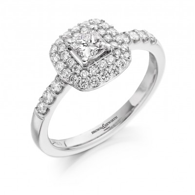 VINTAGE STYLE CLUSTER PRINCESS CUT DIAMOND RING