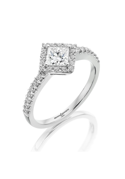 VINTAGE STYLE OFFSET CLUSTER PRINCESS CUT DIAMOND RING