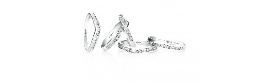 Diamond Set Shaped Wedding Rings