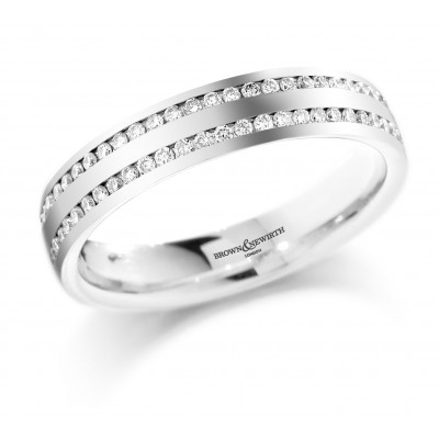 DOUBLE ROW CHANNEL SET FULL DIAMOND WEDDING RING