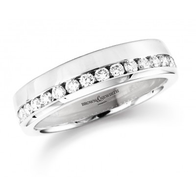OFFSET CHANNEL SET DIAMOND WEDDING RING