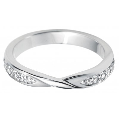 SHAPED CROSSOVER DIAMOND SET WEDDING RING