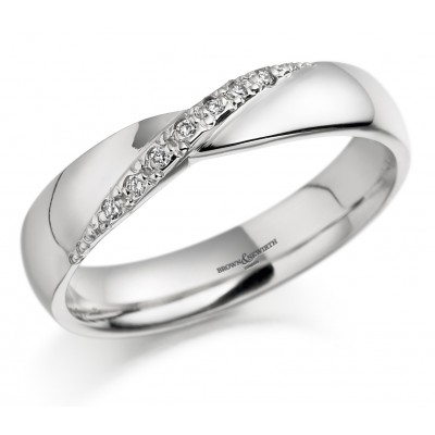 CROSS OVER DIAMOND SET WEDDING RING