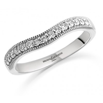 Shaped Diamond Set Wedding Ring With Millgrain Edges