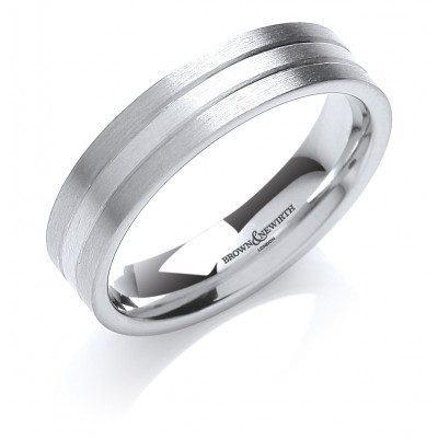 UNRHODIUMED WHITE GOLD AND PLATINUM BANDS PATTERNED WEDDING RING