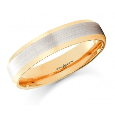 BRUSHED CENTRE BEVELLED EDGE PATTERNED WEDDING RING