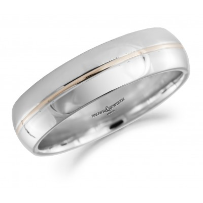 THIN CENTRE BAND PATTERNED WEDDING RING