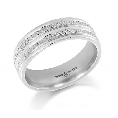 DOUBLE ROW DESIGN PATTERNED WEDDING RING