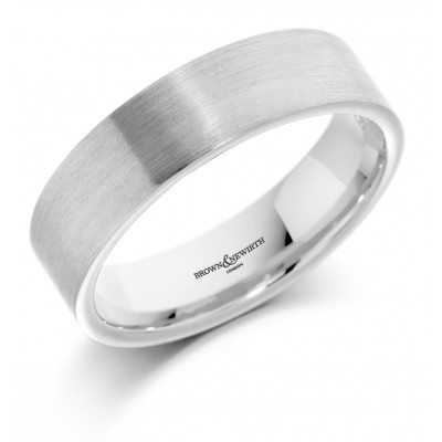 ALL BRUSHED FLAT TOP PATTERNED WEDDING RING