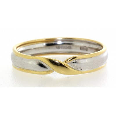 Shaped Twist Two Colour Wedding Ring