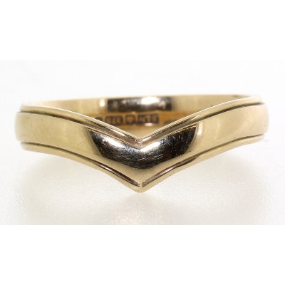 Wishbone Shaped Wedding Ring with Edge Detail