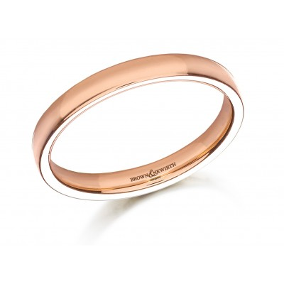 PLAIN MEDIUM WEIGHT COURTED LOW DOME WEDDING RING