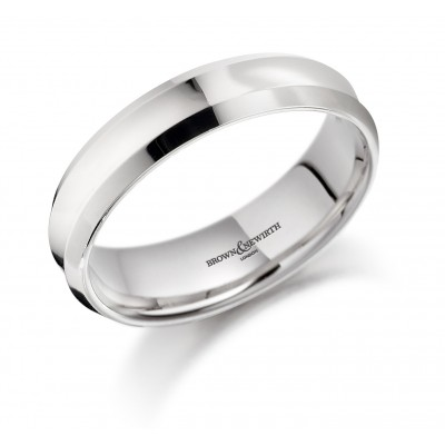 PLAIN MEDIUM WEIGHT COURTED WEDDING RING WITH A CONCAVE CENTRE AND BEVELLED EDGE