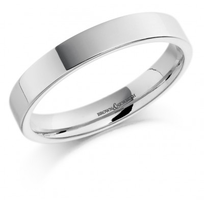 PLAIN MEDIUM WEIGHT COURTED FLAT TOP WEDDING RING