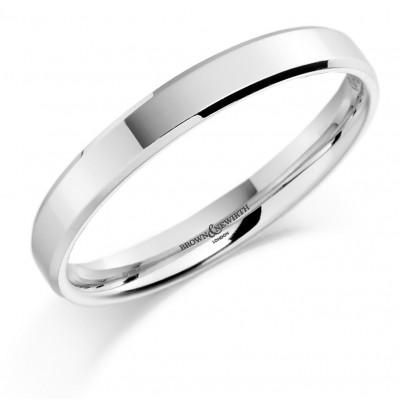 Plain Medium Weight Flat Top Courted Wedding Ring with Bevelled Edge
