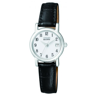 Ladies Black Leather Strap Watch