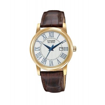 Ladies Dark Brown Leather Strap Watch