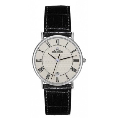 Men's Stainless Steel Sonates Leather Strap Watch